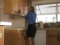 Kitchen, Milf, Milf wife makes husband watch her fuck muscular stud