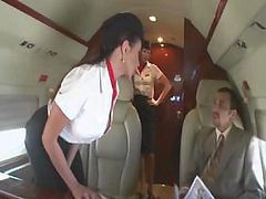 Bus, Stewardess, Stewardess giving handjob on 757 airplane