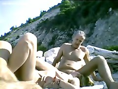 Dogging, Beach, Dogging gangbang wife