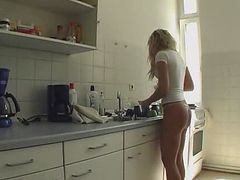 Kitchen, Cougar fucks in kitchen