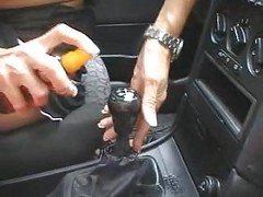 Car, Girl and boy masturbate while driving a car