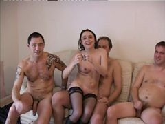 British, Foursome, Milf, Sexy brunette british spy stacey lacey is caught