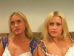 Twins, Threesome, Daddy fucks twins daughters in tv show