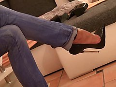 Jeans, Heels, Tight, Heel insertion cock