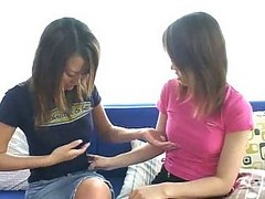 Asian, Lesbian, Lesbians picking up girls for strapon pounding