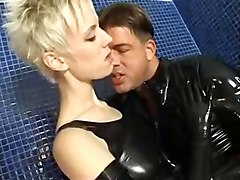 Blonde, Latex, Ass, Latex interracial gangbang
