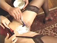 French, Shaving, Shaved hard cock and erect penis piss play