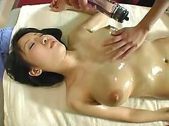 Asian, Japanese, Babe, Lesbian squirting mistress rough massage