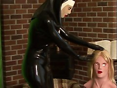 Rubber, Nun, Mask, Lezdom nuns pussylicking
