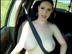 Car, Flashing, Big Tits, Gay blowjob big cock in car
