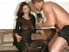 Handjob, Mega titted wife giving a hot handjob
