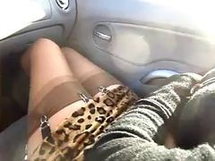Car, Stockings, Car orgasm selfies