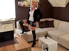 Blonde, Leather, German, French leather whore