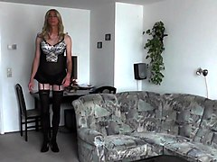 Crossdresser, Lingerie, Dress, High heels crossdressing