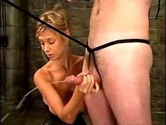 Handjob, Cfnm group post orgasm torture handjob tied cumshot
