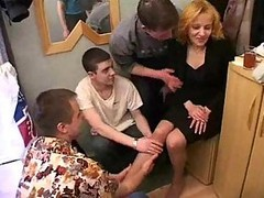 Gangbang, Mom, Cuckold wife gangbanged in front of husband part