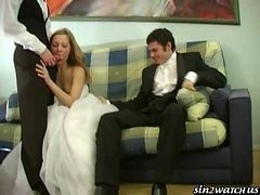 Bride, Wedding, Drunk bride fucked by husband and two more guys