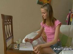 Teen, Blonde teen recieves painful anal fuck in her tight asshole
