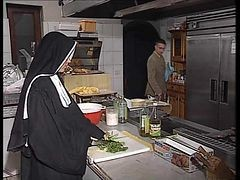 Nun, Kitchen, German, Nun rides huge cock hidencam