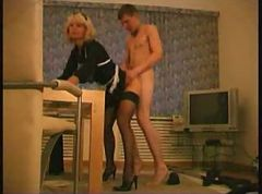 Maid, Daughter fucks maids and guy with strapon