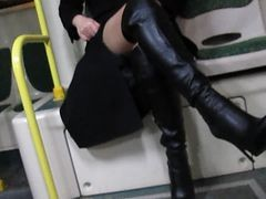 Bus, Boots, Black, Piercing clit bdsm leather