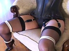 Bondage, Black, Heels, Bleeding anal pump