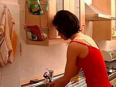 Kitchen, Milf, Mom walks in on son naked in kitchen