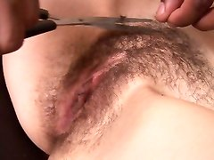Bus, Hairy, Shaving, Shaved chubby pussy