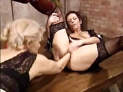 Classic, Lesbian, German, Mature lesbians playing in kitchen