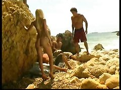 Beach, Jerking and cumming on girl on russian beach