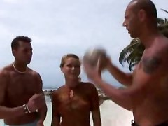 Group, Beach, Amateur shared gf surprise blind folded group gang bang