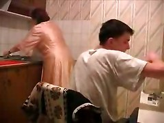 Kitchen, Son sleep walking fucks pantyless mom in kitchen