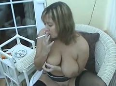 Smoking, Milf, Huge tits smoking fetish
