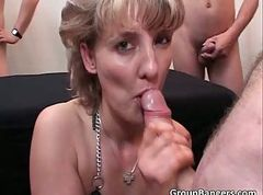Blonde, Gangbang, Party, Husband watches bbw wife get gangbanged by black cocks dped