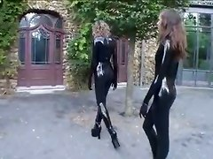 Latex, Full latex coat smoking leather girls