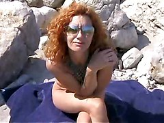 Gangbang, Beach, Milf, Mother daughter and father in nude beach