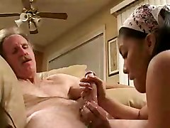 Asian, Teen, Old Man, Teeny girl pussy licking and boobs sucking by old man