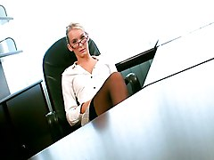 Blonde, Office, Secretary, Japan nudist office lady kisses and jerks off coworker