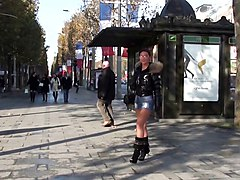 Boots, Babe, Public, Heels sniffing masturbating