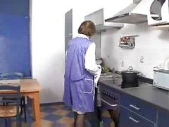 Kitchen, Son pull mom panty down kitchen fuck her