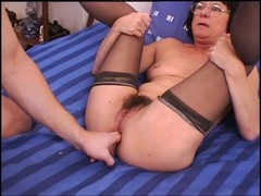 Anal, Granny, Stockings, Granny squirting orgasm