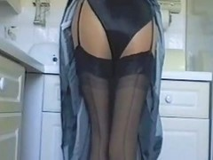 Black, Kitchen, Satin, Mom hand stuck in kitchen sink gets fuck from behind